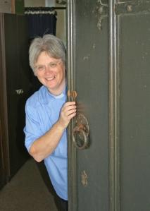 me looking round door at LP