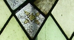 stained glass north wall chancel - snowflakes 3