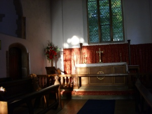 sept 10th 09 sun setting in the chancel