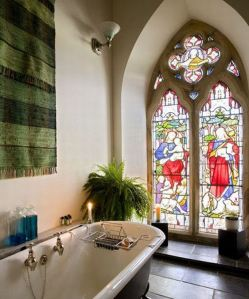 bath and stained glass